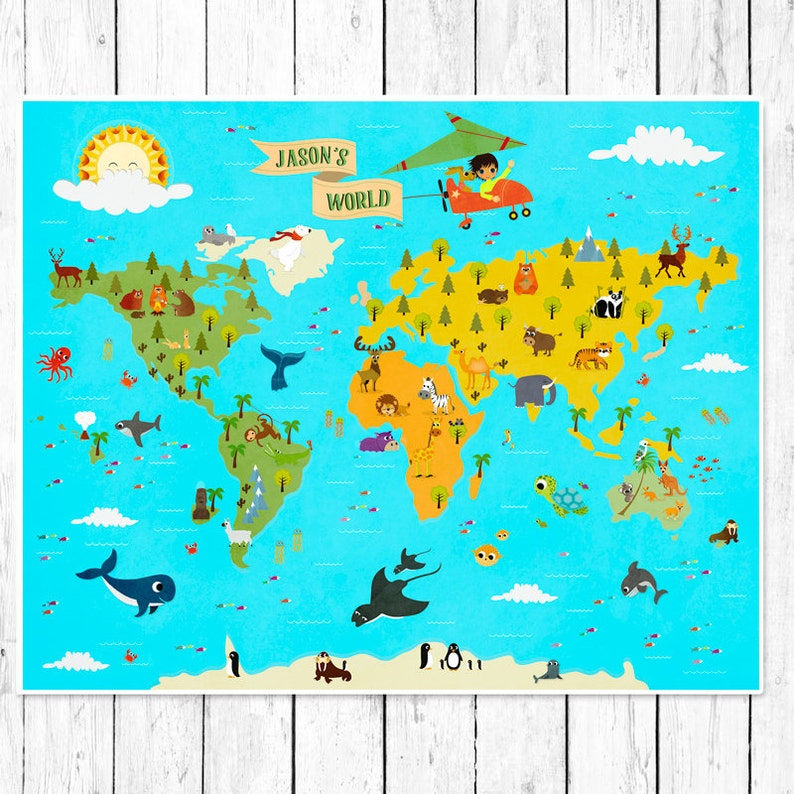 Personalized Kids World Map Nursery world map Children\'s | Etsy