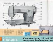 Kenmore 21, 148.210 Zigzag Sewing Machine Instruction Manual PDF Download