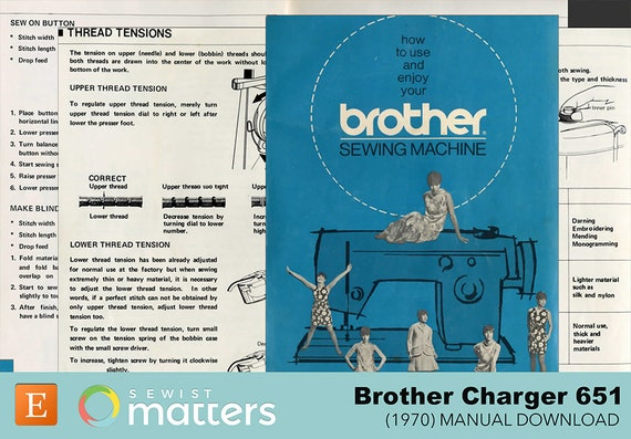 Vintage Brother 40 Sewing Machine Manual PDF Download Etsy Delectable Brother Charger 651 Sewing Machine Manual