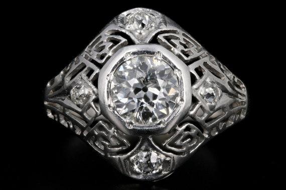 Art Deco 14k .15 European Cut Diamond Ring Pretty
