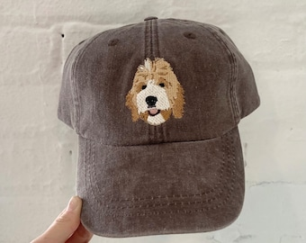 Custom PET Dad Hat - Hand Drawn Art and Embroidered from your pets photo, Birthday, Best Friends, Dog Dad, Dog Mom, Pet Sympathy gifts