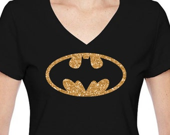 Black V-neck shirt for ladies, women shirt, themed vacations, themed birthday parties, glitter lettering,