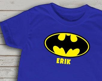Batman inspired T-shirt for boys, Super hero shirt, Batman, Custom Batman inspired t-shirt for boys, customize Batman shirt with name,
