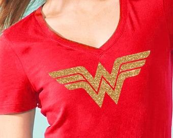 Super hero tshirt, Wonder woman Inspired, Custom wonder woman Shirt, Gold Glitter, Bright Red T-shirt, super hero for ladies