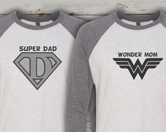 6b669a2c Wonder Woman and Captain America inspired couple shirts, birthday t-shirts,  superhero family shirts, super dad, wonder mom, superhero party