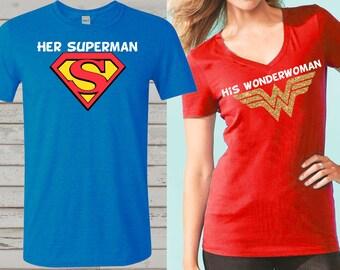 4e280288 Wonder Woman and superman inspired couple shirts, birthday t-shirts,  superhero family shirts, her superman and his wonder woman