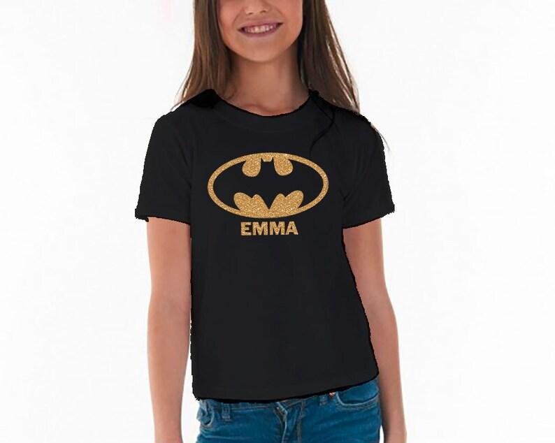 db97858e68de06 Batman inspirowane t-shirt dla dziewcząt czarny t-shirt | Etsy