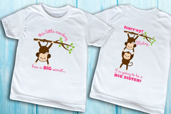 Pregnant Big Sister Secret Front And Back T Shirt Promoted To Big Sister Top