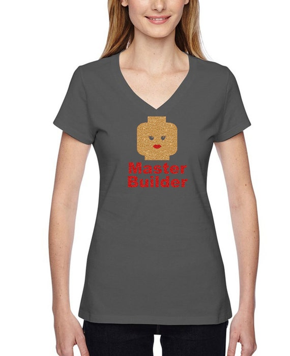 c8378592c4fc63 Złoto brokat budynek blok damska t-shirt Master Builder | Etsy