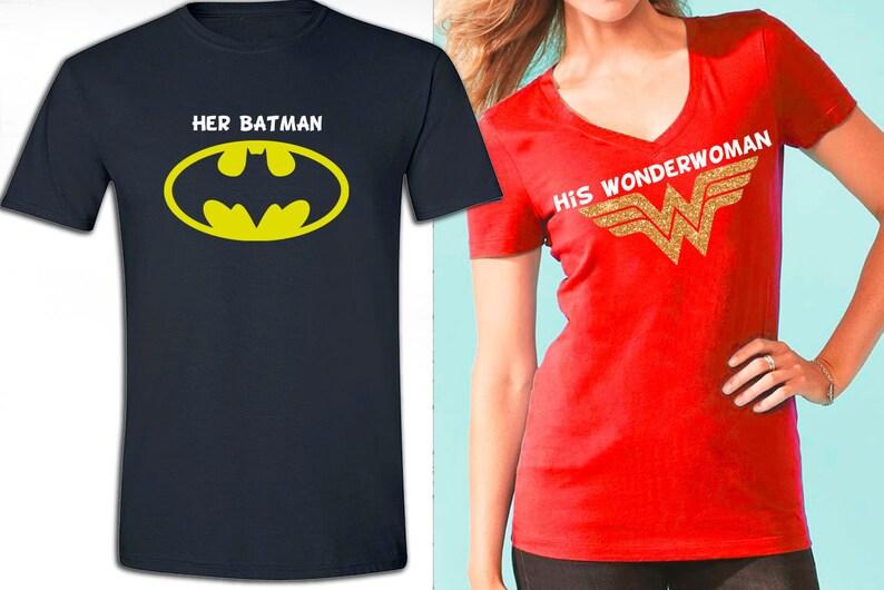 f00d969de58d Wonder Woman and Batman inspired couple shirts birthday   Etsy