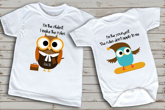 Custom Toddler T-Shirt Big Sister to A Little Mister Cotton Boy /& Girl Clothes