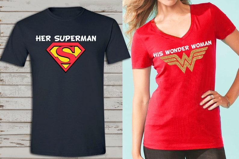 b807b83c19 Wonder Woman and superman inspired couple shirts birthday | Etsy