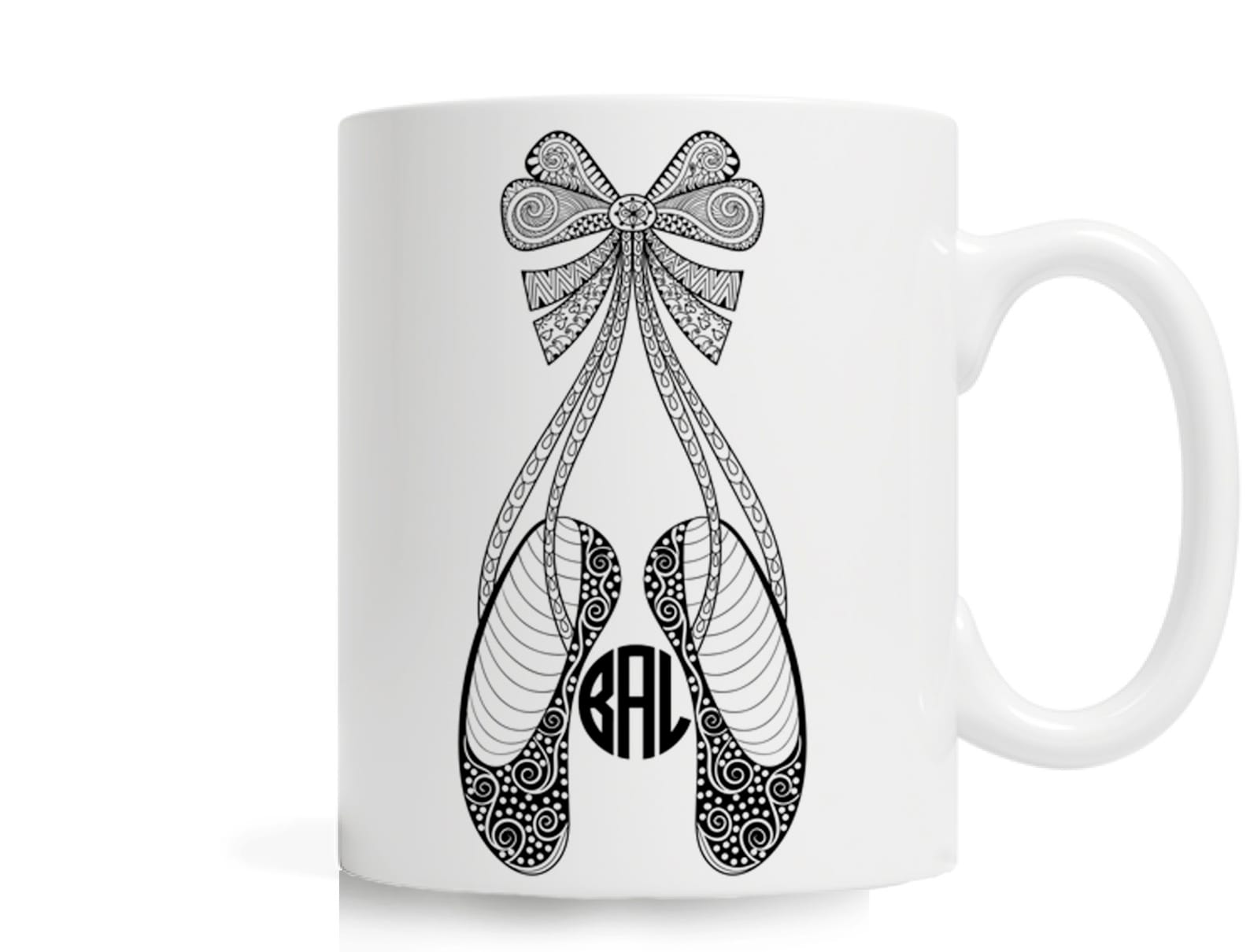 personalized mug, 11 oz ceramic mug, custom mug, intricate drawing, ballet shoes, ballerina shoes, ballerina, delicate design, c