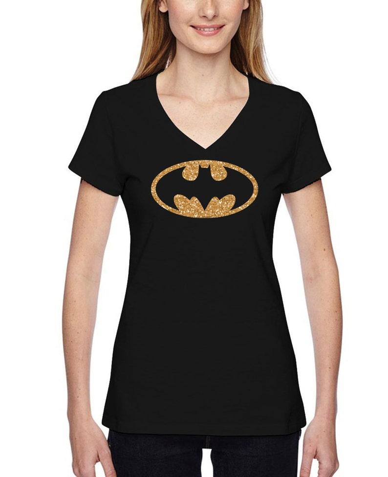 5a5ecc705d88 Gold Glitter Batman Inspired T-shirt Bat Girl Black T-shirt   Etsy