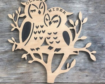 Wooden Owl on Tree Wall Hanging Decor Owl Wall Decor