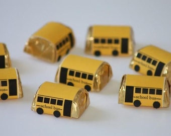 25ct  SCHOOL BUS Driver Teacher Appreciation Favor  Hersheys  Chocolate Nuggets Fast Shipping.