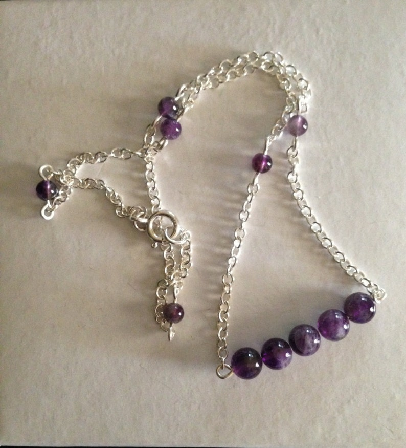 amethyst necklace,chain necklace silver necklace choker silverbymaggie silver chain Sterling Silver Bead Bar Necklace