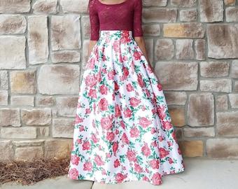 "Roses on White Satin Maxi Ball Skirt ""Rose"" (XS - 6XL) Any Length, Any Size"