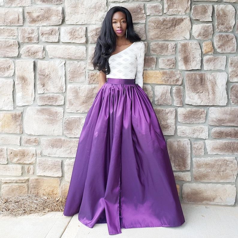 Satin Taffeta Maxi Ball Skirt Dominique XS 6XL  02a6c26dc884