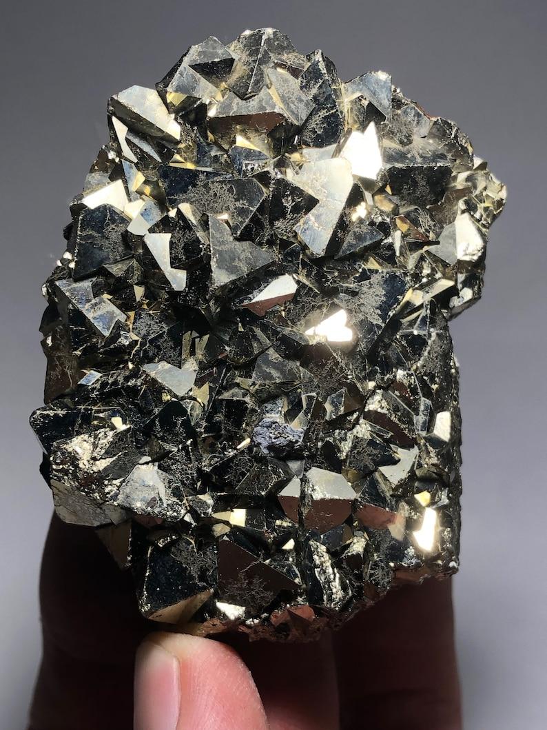Crystal Cluster Weighty Gold Octahedral Pyrite Bar Huanzala Mine Peru