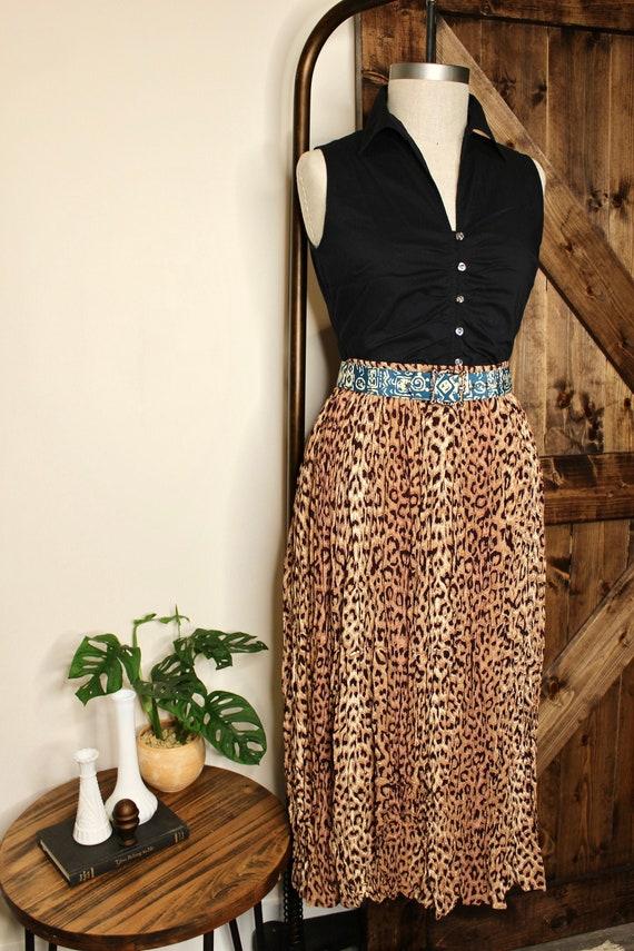 80s Leopard Print Accordion Style Skirt