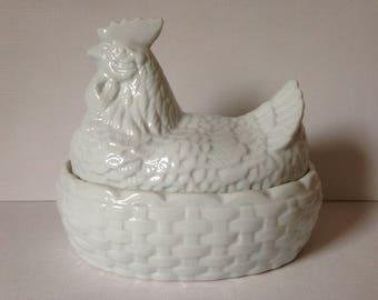 White Hen On Nest, Hen on Nest, Kitchen Decor, Chicken On Nest, Farmhouse Kitchen, Hen Egg Store, Egg Storage, Chicken in Basket, Egg Store