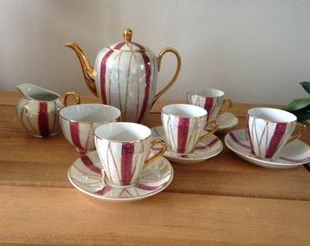 Demitasse Set, Japanese Porcelain, Vintage Coffee Set, Coffee Set For 6, Vintage Lusterware, Morning Coffee, Coffee Service, Afternoon Tea