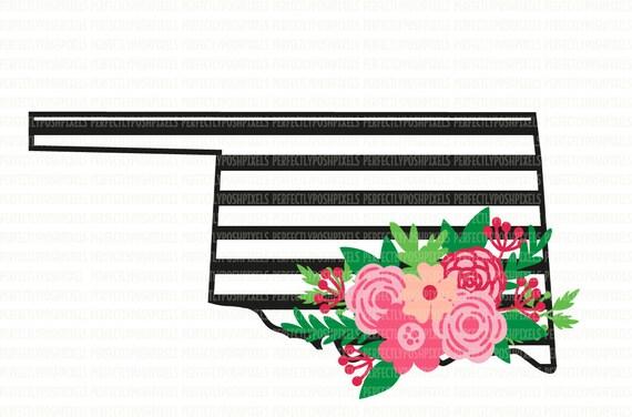 Loklahoma Svg Noir Et Blanc Clipart Imprimable état Swag Floral Silhouette Studio Cricut Design Espace Couper Fichier Coupe Scrapbooking