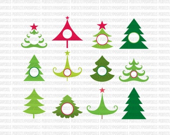 Christmas Tree Monogram SVG EPS DXF Christmas Monogram Decal svg Cut Files Silhouette Cameo Cricut Design Space Iron On Heat Transfer Vinyl