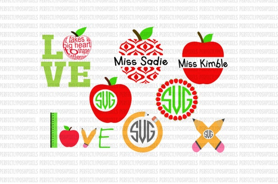 Svg Files Apple Monogram Frame Svg Files 1st Day Of School Etsy