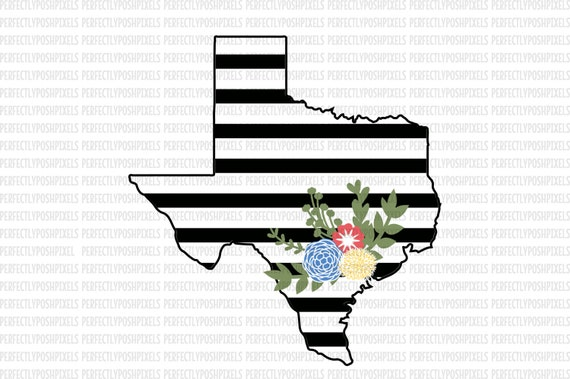 Texas Svg Black And White State Printable Clipart Floral Swag Etsy