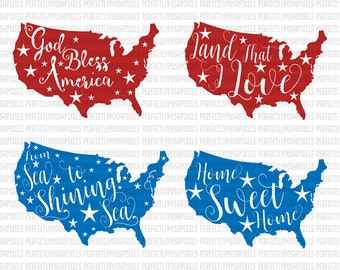 4th of July svg files, Land that I love, God Bless America svg, Patriotic SVG DXF EPS, Silhouette Studio, Cricut Design Space, Scrapbooking