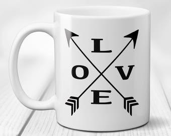 Love Arrow Ceramic Coffee Mug, Crossed Arrows Coffee Mug, Valentines Day Gift, Valentines Day Mug, Love Coffee Mug, Gift for Him or Her