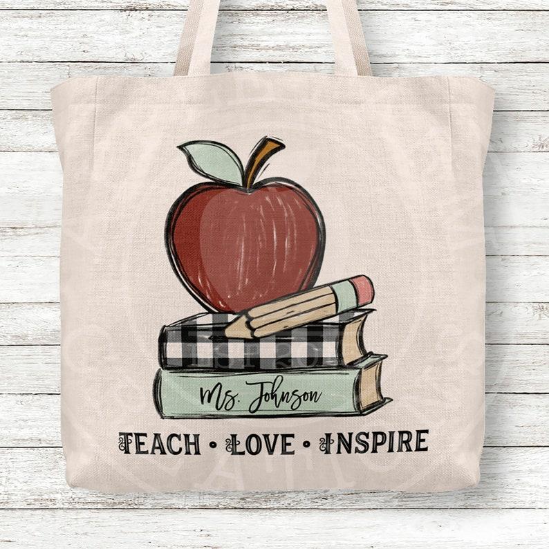 Teach Love Inspire Teacher Tote Bag Personalized Tote Bag with Apple Pencil Books Teacher Gifts Teacher Bag Personalized Custom Name Tote
