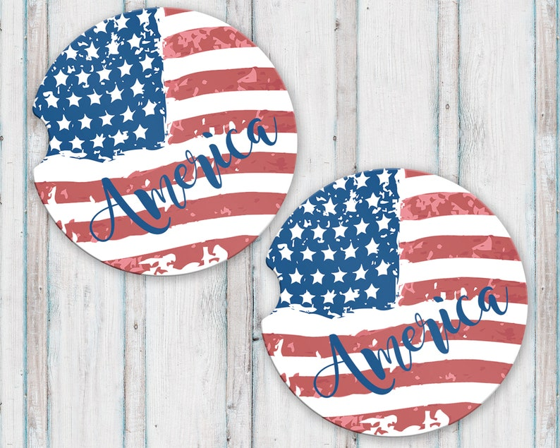 0cd0826f2d9 America Sandstone Car Coasters with Tattered American Flag