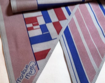 Designer Scarf Monique Martin, pennant shaped, long and narrow, 54 x 8 inch, blue and red on grey