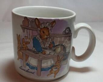 Laura Secord Mug Bunny Rabbits Mug Easter  Mug Collectible 1980s Made in England Easter Bunny Mug Bunny Mug