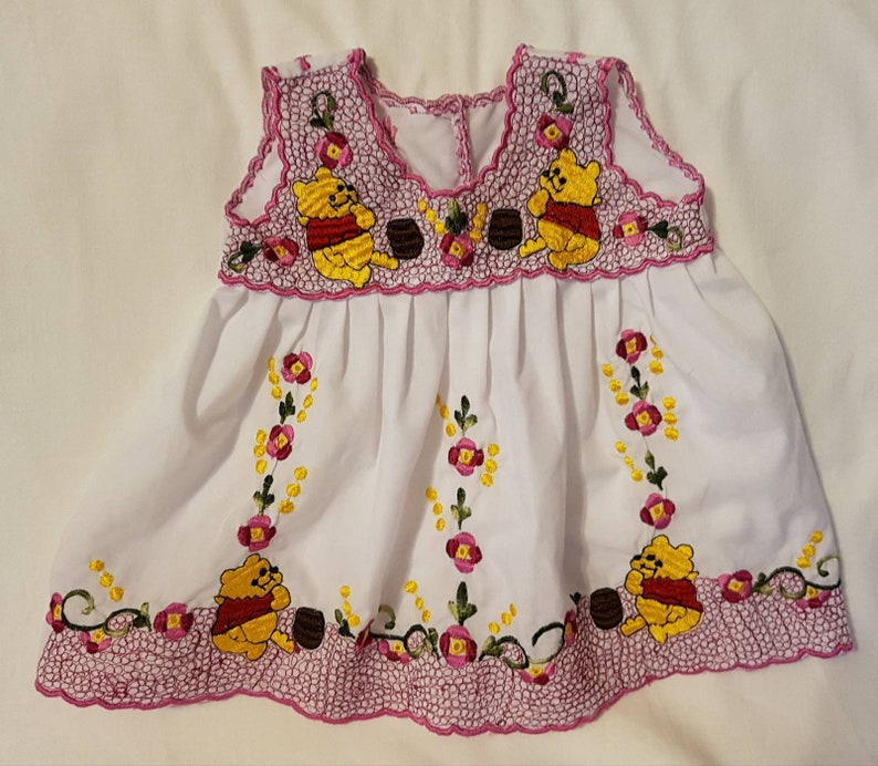 6decf819a Baby girl summer dress with machine embroidered Pooh-like bear | Etsy