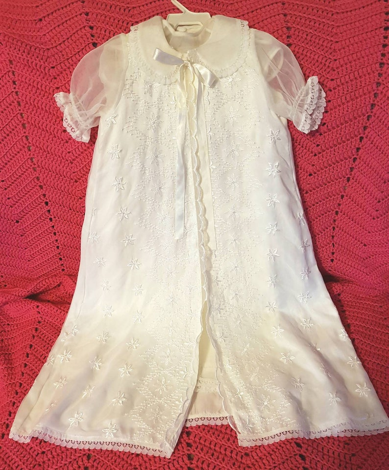 9b8a8541a0ed Vintage 3 piece girl's 6-12 month silk & lace christening | Etsy