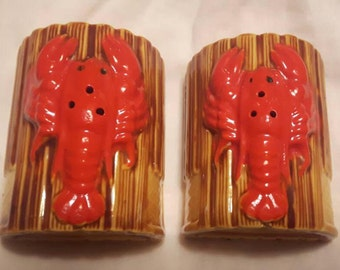 Vintage Lobster Salt and Pepper Shakers Unique Made in Japan Ceramic Retro Seafood Nautical Rare