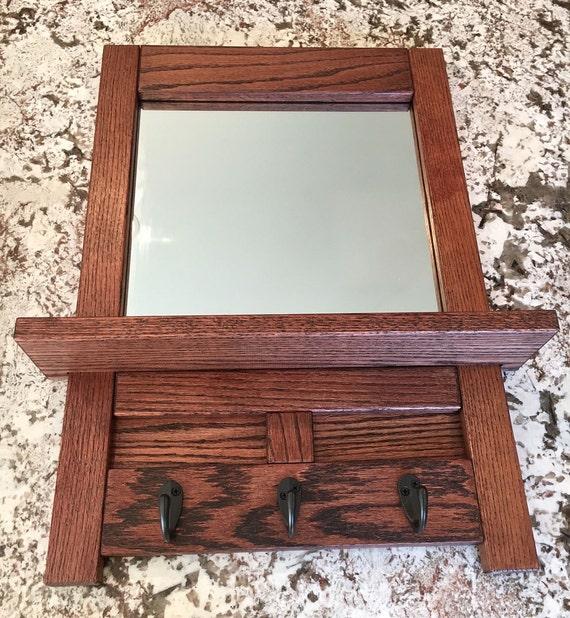 miroir dentr e ch ne blanchi entr e miroir avec crochets etsy. Black Bedroom Furniture Sets. Home Design Ideas