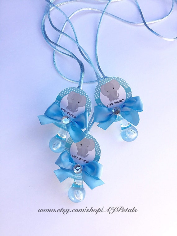 Baby elephant pacifier necklace 24 baby shower pacifier necklace pink elephant baby shower