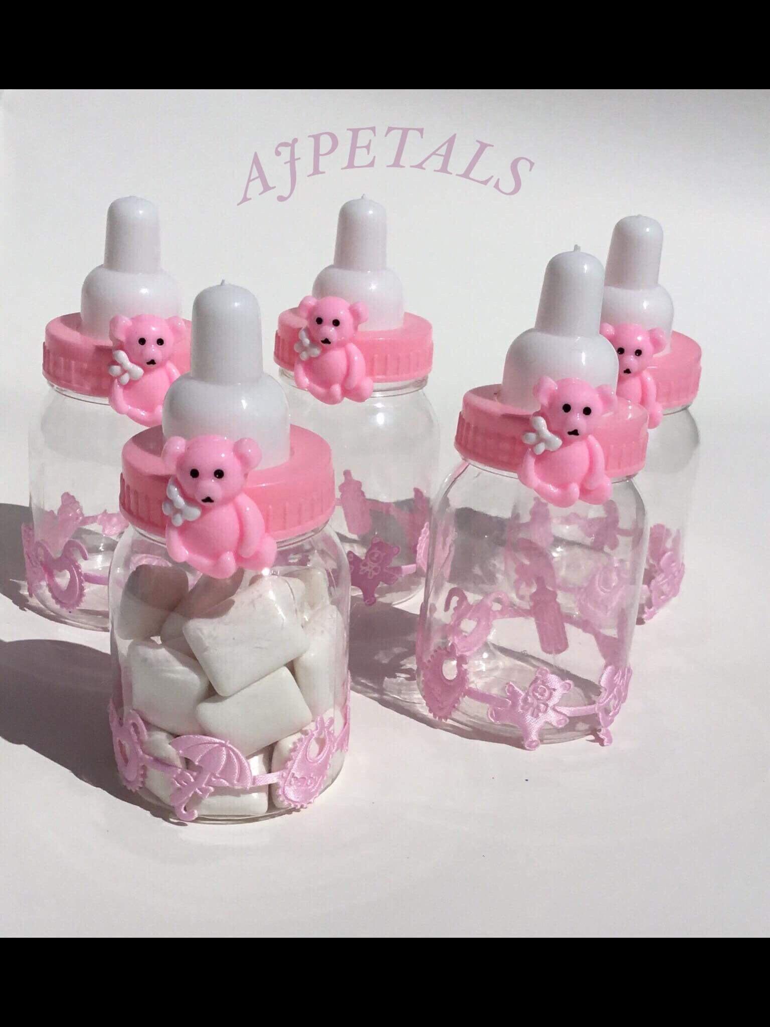 Teddy bear baby bottle favors/baby shower favors/pink bear   Etsy