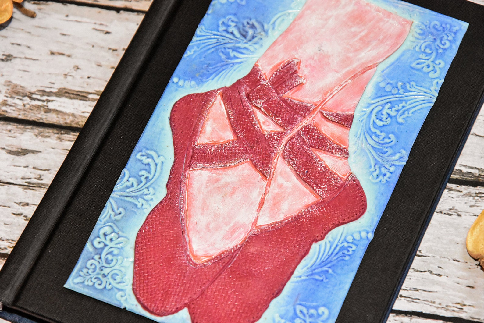 ballet shoes journal a6 handmade polymer clay cover. beauty, ballerina painting effect, flora texture. polymer clay notebook/ di