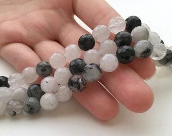 Tourmaline Quartz, Faceted Beads, Black Tourmaline, 8mm Beads, Black Tourmaline Beads, Tourmalated Quartz, Tourmaline, Black and White Beads