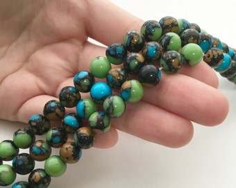 Magnesite Beads, 8mm Beads, Multi Color Beads, Green Beads, Blue Beads, Orange Beads, 6mm Beads, 10mm Beads, Gemstone Beads, Blue and Green