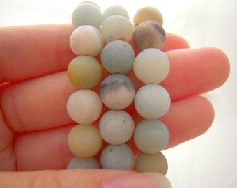 SALE Amazonite Matte 8mm round Beads, Amazonite Beads, Natural Gemstones, 8mm Beads, 8mm Amazonite Beads, Multicolor Beads,
