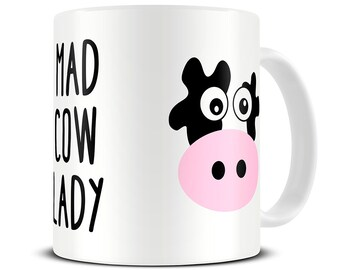 Birthday Gift for Best Friend - Mad Cow Lady Coffee Mug - cow gifts - cow mug - funny coffee mug - MG490