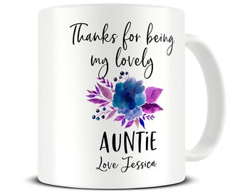 Personalized Auntie Mug Gift Thank You For Coffee Aunt Birthday MG723