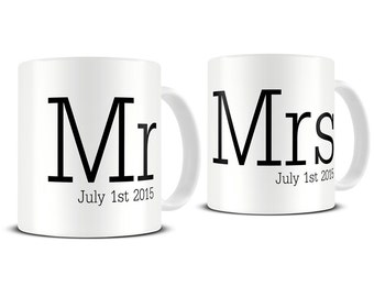 Personalized Mr and Mrs Typography Coffee Mug Set - his and hers mugs - housewarming gifts - bridal shower gift - wedding mugs - MG368